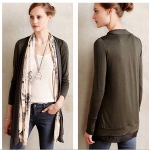 Saturday Sunday Olive Green Open Front Cardigan